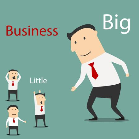 confused cartoon: Friendly cartoon smiling big business giving hand for handshake to scared and confused small businessmen. Partnership and teamwork concept