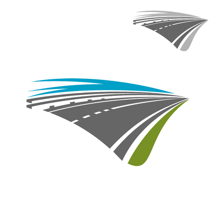 Asphalt highway road icon with blue sky disappearing into the distance. Transportation theme concept