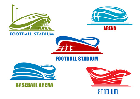 Abstract sport arenas and stadiums symbols or icons in red, blue and green colors. For team sport competitions Ilustração