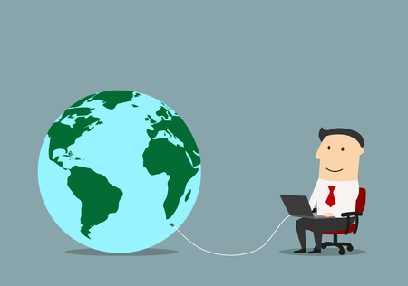 wire globe: Businessman working with laptop, which connected to a world globe with internet wire. Network technology or www concept