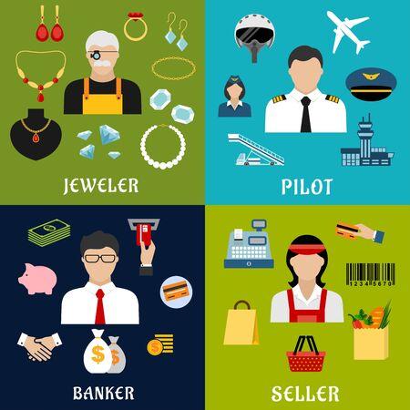 piloto: Vendedor, banquero, piloto y joyero profesiones iconos planos con hombres y mujeres en uniforme y las compras, la banca, los aviones y los símbolos de joyas o elementos