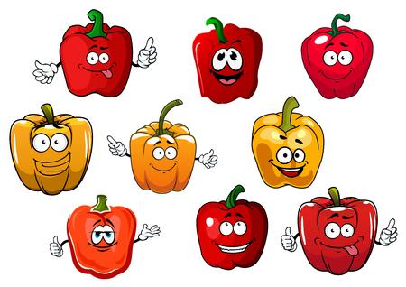 pimenton: Naranja dulce y pimientos rojos o pimentón vegetales aislados en blanco. La comida vegetariana o la agricultura el uso de diseño de la cosecha Vectores