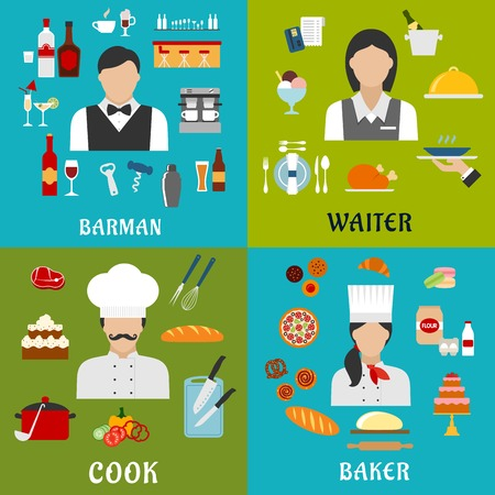 cooking utensils: Cook, baker, waitress and barman profession flat icons with men and women, surrounded by food, drinks and kitchen utensil symbols