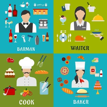 panadero: Cook, panadero, camarera y profesión de barman iconos planos con hombres y mujeres, rodeados de alimentos, bebidas y símbolos utensilio de la cocina Vectores