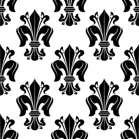 lily flower: Victorian seamless floral pattern with royal french fleur-de-lis lilies on white background
