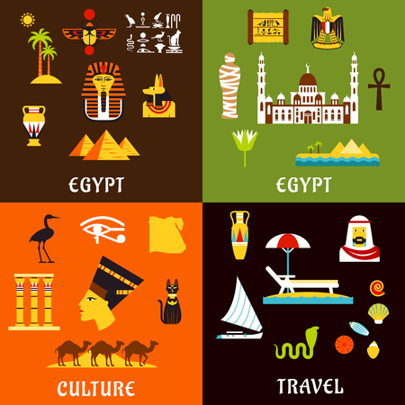 history architecture: Egypt travel flat icons with ancient history and culture, tourist services and comfortable beach vacation, architecture and nature landmarks