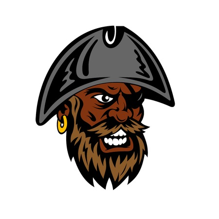piracy: Angry yelling cartoon pirate with lush beard and mustache, eye patch and gold earring in captain hat. Piracy or tattoo design usage