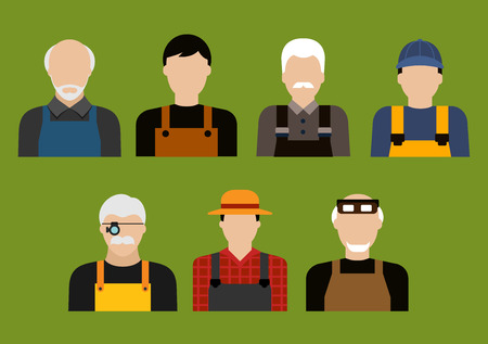 agriculture industry: Avatars of farmer, mechanics, jeweler and tailor professions with men in professional uniform. Agriculture, service and transportation industry usage, flat style