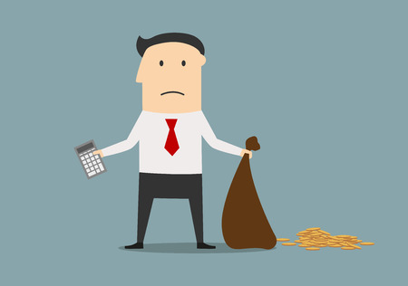 money cartoon: Unhappy businessman declaring bankruptcy and showing empty bag and calculator. Bankruptcy, financial crisis or failure concept