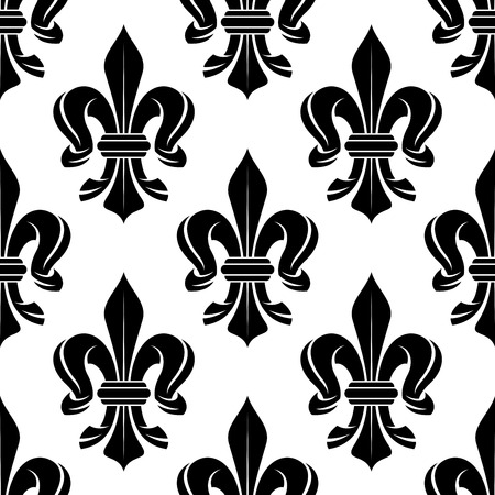 victorian wallpaper: Black and white royal floral seamless pattern with victorian fleur-de-lis ornament. For luxury wallpaper or interior accessory design