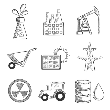 oil barrel: Industrial and mining sketched icons with oil well, factory, oil derrick, mining, solar panel, electricity pylon, nuclear energy, tractor and oil barrel