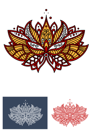 embellishment: Bright turkish floral design element with yellow petals and curled leaves, adorned by paisley ornament. Floral pattern for carpet or lace embellishment usage