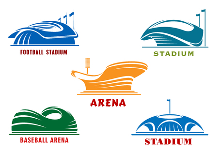 Modern sport open stadiums and cup shaped arenas icons with colorful abstract buildings, flagpoles and mast with projectors. Architecture and sporting themes design Illustration