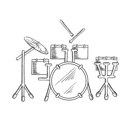 bass drum: Drum set sketch with traditional kit of bass drum, two hanging toms, snare drum, floor tom and ride cymbal. Addition to music, art or entertainment design Illustration