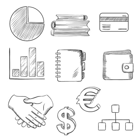 Sketched business iconen met een taart- en staafdiagram, dollar- en euro-valuta symbolen, bank creditcard, portemonnee, handdruk, flow charts, notitieboekje en boeken. Schetsstijl Stock Illustratie