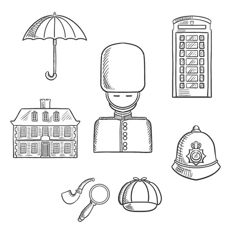 caps: United Kingdom travel sketch icons and symbols with guard soldier, telephone booth, police helmet, detective cap, pipe and magnifier, umbrella and old building