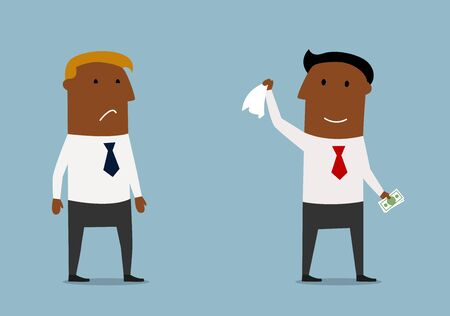 waving: Happy smiling businessman taking money from sad competitor and waving goodbye to him. Concept of business competition and unfair profit Illustration