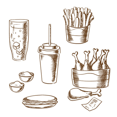 fried chicken: Fast food snacks and drinks sketch icons with takeaway french fries, hot dog, fried chicken legs, sauce cups, soda, coffee and bill isolated on background. For menu or signboard design usage Illustration