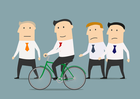 advantages: Cartoon businessman on bicycle overtaking his colleagues and mature boss. Skills development and competition advantages concept