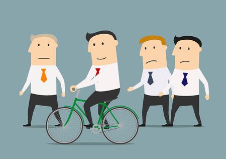 hombre caricatura: Empresario de dibujos animados en la bicicleta superando a sus colegas y jefe maduro. desarrollo de habilidades y ventajas de competencia concepto