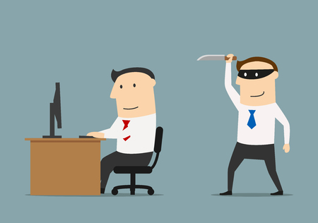 competitor: Competitor in black mask sneaks a knife to the businessman. Betrayal and back stab of business partner or competitor concept Illustration