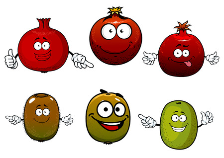 exotic fruit: Healthful tropical cartoon green kiwi and ripe red pomegranate fruits characters. Isolated on white Illustration