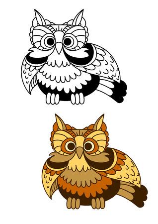 ojos caricatura: marr�n de la historieta y el b�ho rayado amarillo con alas batientes. Para la mascota o el concepto de dise�o de la sabidur�a
