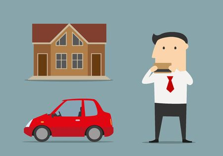 buy: Happy businessman bought house and car by bank credit card. Real estate and consumer credits concept Illustration