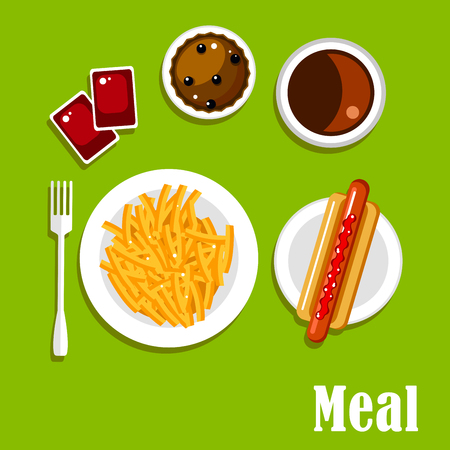 dipping: Fast food lunch meal of hot dog with sausage and ketchup, french fries with tomato dipping sauces, soda drink and chocolate cupcake with berries. Flat icons Illustration
