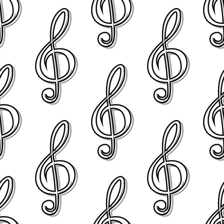 clefs: Outline seamless pattern with musical clefs for art background usage Illustration
