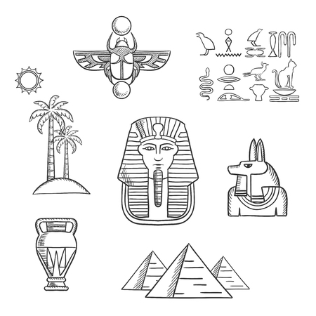 pyramid of the sun: Egypt travel and culture icons with Giza pyramids, pharaoh golden mask, ancient hieroglyphics, scarab amulet, anubis god, amphora and beach landscape of palm trees with sun. Sketch style Illustration