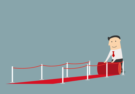 Cheerful cartoon businessman rolling out the red carpet between barriers. Success business concept design