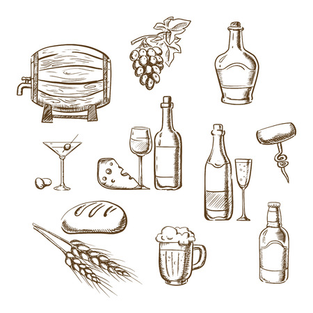 drink bottle: Alcohol drinks and beverages sketch icons with bottles of wine, beer, champagne, brandy, filled wineglasses, wooden barrel, cocktail, glass, olives and some snacks. Party or restaurant design usage