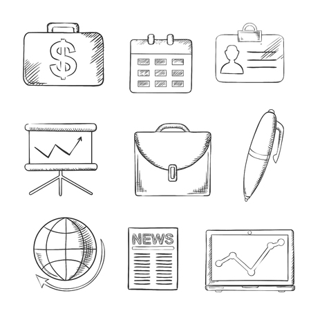 sketched icons: Business and office sketched icons with money, calendar, briefcase, reports, computer, pen, globe, financial news and analytical graphs. Sketch style objects