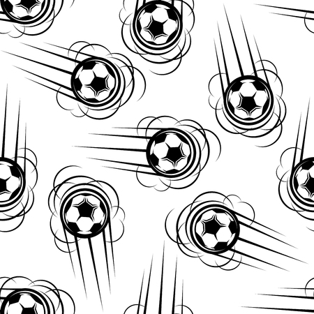 trails: Flying football or soccer balls seamless pattern with motion trails on white background Illustration