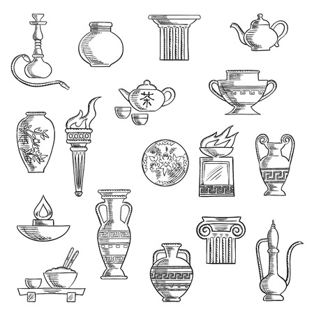 copper pipe: Containers and kitchenware icons in sketch style with ancient torch, stone fire bowls, amphora, copper and ceramic teapots, oil lamp, hookah pipe, tea services, vases, jug and plates