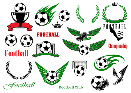 soccer club: Football or soccer sport game heraldic elements with balls, trophy, shoes, laurel wreaths, gates, text, ribbon banners, crowns, wings and fire flames