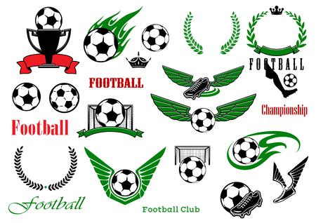 Fußball oder Fußball-Sport-Spiel heraldische Elemente mit Kugeln, Trophäe, Schuhe, Lorbeerkränzen, Tore, Text, Band-Banner, Kronen, Flügel und Feuer Flammen Standard-Bild - 49394704