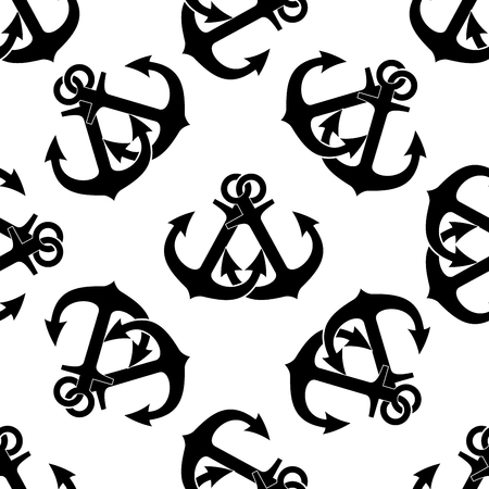 ancre marine: Marine anchors seamless pattern with two crossed black ship anchors