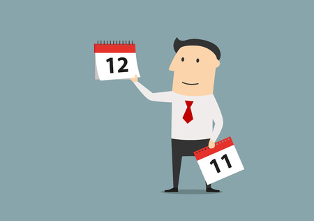 last year: Cartoon businessman showing on the tear off calendar and the last month of the year. Time management or planning concept design