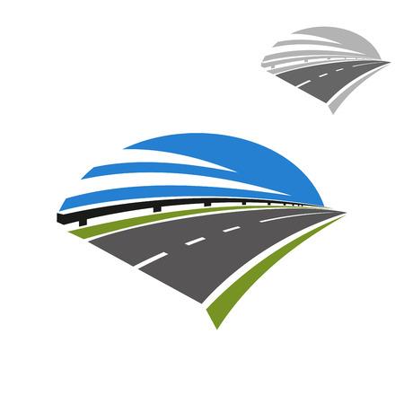 가드 레일과 푸른 하늘 위의와 속도 고속도로 아이콘입니다. 여행, 수송 또는 여행 디자인으로 사용 일러스트