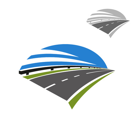 cars on the road: Speed freeway icon with guardrail and blue sky above. Use as travel, transportation or journey design
