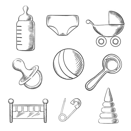 sketched icons: Baby and childhood sketched icons with a pram, ball, bottle, dummy or pacifier, crib, nappy, safety pin and toys. Sketch style illustration Illustration