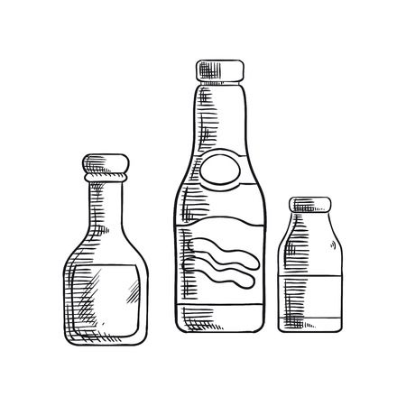 condiments: Glass bottles with tomato ketchup, mustard and sea salt condiments for recipe book, kitchen interior or accessories design. Sketch style Illustration
