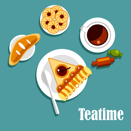 teatime: Teatime food flat icons of served table with cup of fresh tea, piece of apple pie, cookies with jam, sweet bun and candies