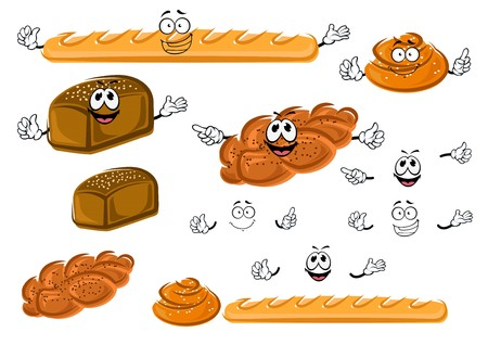 bread roll: Cartoon fresh french baguette, rye bread loaf, sweet cinnamon roll and plaited bun with poppy seeds. Bakery shop emblem or healthy food design usage Illustration