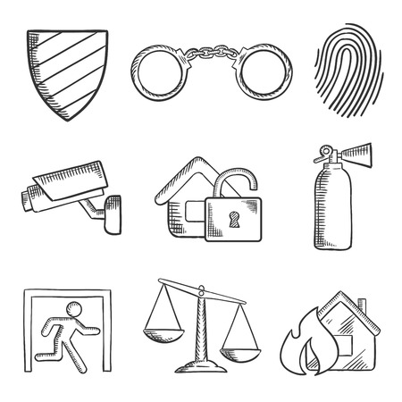 security safety: Safety and security sketch style icons with a security shield , handcuffs, thumb print, surveillance camera, padlock, fire extinguisher, emergency exit, scales of justice and fire. Isolated on white
