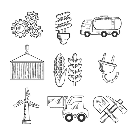sketched icons: Energy and industry sketched icons with machinery, light bulb, mining, tank car, shipping, wind turbine, plug, forklift and agriculture symbols. Sketch style