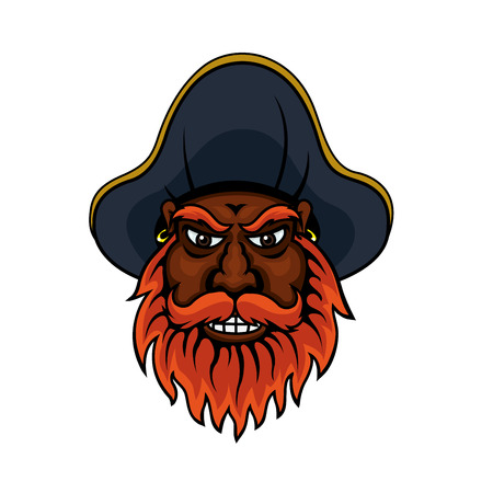 emotions faces: Red bearded cartoon angry pirate captain character with medieval hat and golden rings in ears