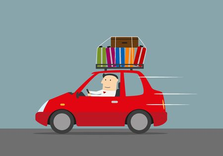 Joyful businessman traveling by car with suitcases on the roof. Use as travel, vacation and car trip design Illustration